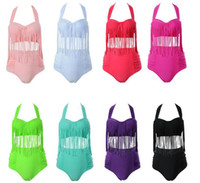 Wholesale Plus Size Swimwear Fringe - 2017 Newest Summer Plus Size Tassels Bikinis High Waist Sexy Women Bikini Swimwear Padded Boho Fringe Swimsuit Monokini 10 Colors