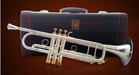 Wholesale instrument trumpet silver - TOP genuine Bach Trumpet B flat trumpet Silver Plated musical instrument performances 190S Gold key trumpet free shipping
