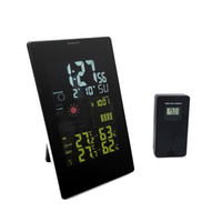 Wholesale PT C Large display screen RF Wireless Weather Station Alarm Clock Indoor Outdoor Thermometer with Color Backlight