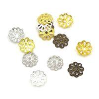 bouts de perles d'artisanat achat en gros de-7mm Fleur Perles Caps Artisanat Fabrication de Bijoux Materiale Per Bigiotteria Perles Accessoires 1000 Pcs Or Argent Bronze