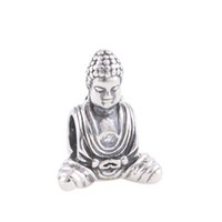 Wholesale 925 Buddha Wholesale - Wholesale-New 925 Sterling Silver Bead Buddha Religion Charm DIY Jewelry Making Fits European Brand Snake Chain Charms Bracelet