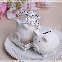 banka para kasası toptan satış-50 ADET Güzel beyaz seramik Domuz Şekli Para Tasarrufu Kutusu Paraları Penny Kuruş Kumbara bebek duş Tasarruf Çocuklar Hediye Düğün Favor