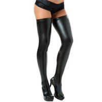 Wholesale Spandex Stockings Wholesale - Wholesale-Hot 2016 Sexy Female Women Girls Faux Leather Thigh-Highs Solid Color Sexy Lingerie Stocking +Free Brief