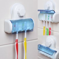 Wholesale Toothbrush Spinbrush Holder - Wholesale- 2017 Toothbrush Spinbrush Plastic Suction 5 Toothbrush Holder Wall Mount Stand Rack Home Bathroom Accessories