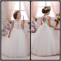 Wholesale Long Vest For Girls - Flower Girl Dresses Hole Ball Gown White Lace Sleeveless O Neck Long Wedding Pageant First Communion Dresses for Little Girls