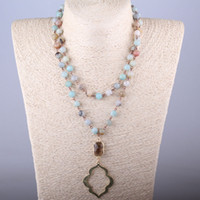 Wholesale Rosary Free - Free Shipping Amazonite Stones Bohemian Tribal Jewelry Rosary Chain Crystal and Lip Pendant Necklace