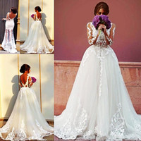 Wholesale see through white dresses - Arabic Long Sleeve Overskirts Wedding Dresses With Sheer Neck Appliqued Tulle And Lace Wedding Dress Sexy See Through Mermaid Bridal Gowns