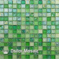 Wholesale glass mosaic floor tiles resale online - green glass mosaic tile for interior house decoration bathroom and kitchen wall tile floor tile
