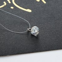 Wholesale Korean Diamond Necklace - The Korean version of invisible line female diamond chain necklace clavicle zircon crystal pendant in Europe