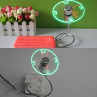 Mini USB Fan Gadgets Flexible Schwanenhals LED Uhr Cool für Laptop PC Notebook Zeit Display Qualität haltbar Einstellbare AAW0006