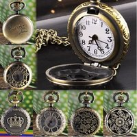 Wholesale Luxury Pocket Watch Men - Delicate watch men Unisex Luxury Hot Fashion Hot Fashion Vintage Retro Bronze Quartz Pocket Watch Pendant Chain Ju23
