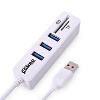 leitor de porta usb mini venda por atacado-Hub USB 2.0 3 Portas + Leitor de Cartão Portátil Hub USB Combo de Alta Velocidade Mini USB Splitter Para SD / TF Computador PC