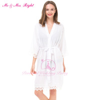 Wholesale Women Bathrobe Xl Large - Wholesale- Sexy Large Size Sexy Cotton Night Robe Lace Bathrobe Perfect Wedding Bride Bridesmaid Robes Dressing Gown For Women