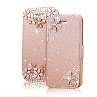 Caso del diamante del Rhinestone para Iphone 4s / 5/6/6 más TPU + PU Leather 100% Fitted Cases Productos calientes de la venta