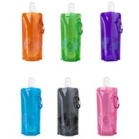 Wholesale Nice Camping - Wholesale- Nice 480ml Portable Foldable Water Bottle Ice Bag Running Outdoor Sport Camping Hiking Random Color