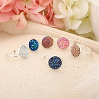 Wholesale Open Rock Jewelry - Resin Round Glitter Druzy Drusy Open Ring Gold Silver Plated 6 Colors Imitation Rock Stone Finger Rings Fashion Woman Jewelry