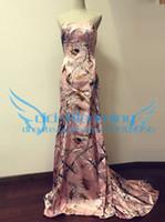 ingrosso abiti da corte a domicilio-Rosa CAMO Prom Dresses 2017 Mermaid Abito lungo formale con trenino Immagine reale personalizzata
