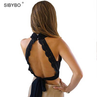 Wholesale Trendy Tank Tops Wholesale - Wholesale-Summer 2016 Fashion Women Sexy Backless Black Lace Bow Tanks Cropped Vintage Short Crop Tops Halter Trendy Girls Tank Top