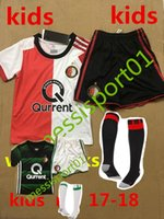 Wholesale Boys Children Track Suit - Best quality 2017 2018 Feyenoord Rotterdam kids Soccer jersey kit with socks KUYT VILHENA 17 18 Home away Children football track suit sets