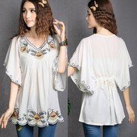 Wholesale Tunic Sale Women - 2017 Hot Sale vintage 70s Mexican Ethnic Floral EMBROIDERED Hippie Blouses   Shirt Women Clothing Tops Tunic blusa Feminina 0234