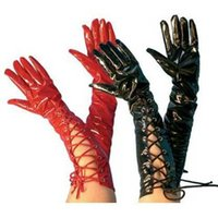Gothic Lace Up Gants Femmes Noir Rouge Long Opera Style Fantaisie Accessoire Mitaines Mitaines Cosplay Costume