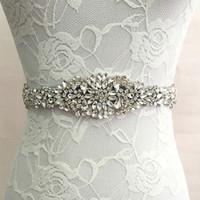 faja al por mayor-Faja nupcial de la boda Princesa Rhinestone Belt Girl Flower Vestido de dama de honor Sash Accesorios de la boda Multi Color Ribbon SW51