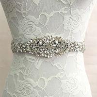 kemer kemeri toptan satış-Gelin Kanat Düğün Prenses Rhinestone Kemer Kız Çiçek Nedime Elbisesi Kanat Düğün Aksesuarları Çok Renkli Şerit SW51