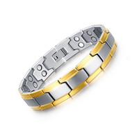 father s day bracelet groihandel-Neue Mode 22 cm Herren Armband Gesundheit Magnet Schmuck Power Care Magnetische Armband Schmuck Therapie Balance und Energie Vatertagsgeschenk B842S