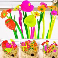 Wholesale 6 Pieces Mixed Flower Plant Ballpoint Pens Fashion Hot Creative Stationery Bloom Sweet Lucky Flowers Pen Design Pen Creative