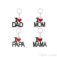 Wholesale Best Love Keychains - 2017 Father's Day Birthday best gift I love DAD MAMA creative letters keychain with red heart fashion love stainless steel key chains
