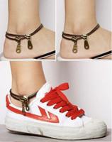 Wholesale Trendy Womens Bracelets - Women Ankle Chain Vintage Punk Metal Jewelry Unique Zipper Design Anklet Bracelet Ladies Accessories Womens Jewelry