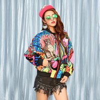 Wholesale cat bats - 2016 Autumn Harajuku Women new Korean Cat kitty Patch Sequin printing Loose Short jacket ladies Tops Coat for Female Outerwear