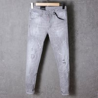 organic pictures - real picture ss exclusive luxury gray ripped holes causal slim fit rider jeans hip hop biker cool jeans