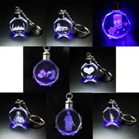 Wholesale glowing crystal led for sale - Group buy To figure custom glow in the d laser carving key pendant gift promotion process building religious factory direct sale