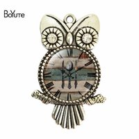 Wholesale Glass Stone Pendant - BoYuTe (12 Pieces Lot) 2017 New 55*36*25MM Image Glass Cabochon Jewelry Vintage Pendant Diy Glass Stone Rose Pendant