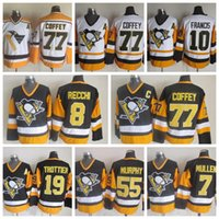Wholesale Ron Francis Jersey - Throwback Pittsburgh Penguins Hockey Jersey 77 Paul Coffey 10 Ron Francis 7 Joe Mullen 55 Larry Murphy 8 Mark Recchi Bryan Trottier Jerseys