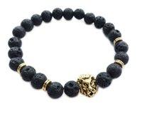 homens pulseira leão venda por atacado-Novo masculino pulseira de Pedra Natural Liga de prata leão de ouro cabeça 8mm contas com rocha vulcânica homens Jóias Lava Yoga Pulseiras de presente