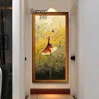 figura simple pintura al por mayor-Bailarín de ballet Pintado a mano Figuras abstractas Pintura al óleo sobre lienzo Moderno Simple Hogar Arte de la pared Decoración Pinturas Sin marco
