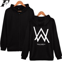 Wholesale Mens Wholesale Hoodie - Wholesale- LUCKYFRIDAYF Alan Walker DJ Hooded Sweatshirt Winter Mens Hoodies And Sweatshirts Zip Plus Jacket Cotton Coat Fashion Hoodie