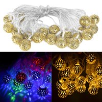 Wholesale Christmas Cave - Wholesale- AC 220V 5M String Light 20 Lamps Led Waterproof Hollow-caved Golden Ball Colorful Light for Wedding Christmas Party Decoration