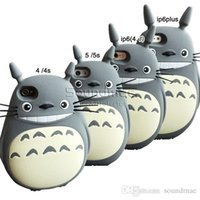 Para iphone 6s Shockproof Silicone Totoro Cover 3D Colors Cartoon Phone Case para Iphone 5 5s se 6 6s plus Opp Bag