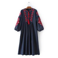 spanish dress - 2017 new fashion Spanish lady autumn lace embroidery long sleeve version of cotton and linen dress restoring ancient way