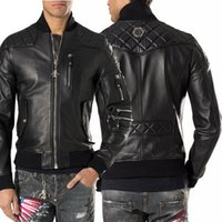 Wholesale Men Leather Jackets Slim Fit - 2017 Spring Summer Fashion Leather Jacket Men Faux PU Leather Bomber Motocycle Jacket Slim Fit Chaqueta De Cuero Hombres