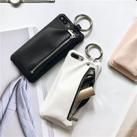 Wholesale Iphone Cover Zipper - for iPhone 7 Case Leather Wallet Luxury Zipper Girl Handbag Pocket Case for iPhone 7 6 6S Plus Cover Ring Holder