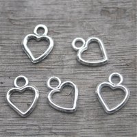 ingrosso pendenti del cuore per la fabbricazione dei monili-50 pezzi - Ciondoli a forma di cuore, ciondoli in argento con cuore antico tibetano, ciondoli a goccia con cuori, creazione di gioielli 11x8mm