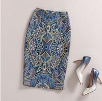elegante arbeitsröcke großhandel-Frauen-Rock-eleganter barocker Art-geometrischer Muster-Druck-hohe Taillen-fester Bleistift-Rock-Arbeits-Büro-Dame Plus Size Elastic Skirt