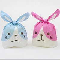 Wholesale wholesale cookie bags supply - Wholesale- 20pcs lot rabbit ear cookie bags plastic candy Biscuit Packaging Bag Wedding Candy Gift Bags party Supplies