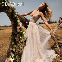 Wholesale Thin Wedding Gown - A line Thin Summer Wedding Dresses Breathable Tulle Lace Pearl Beaded Light Bridal Gown Real Photo