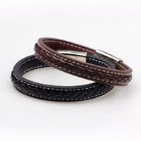 Wholesale Mens Magnetic Jewelry - Mens Stainless Steel Leather Bracelet Magnetic Clasp Black Brown Bangles Male Wristband FASHION Men Punk Jewelry