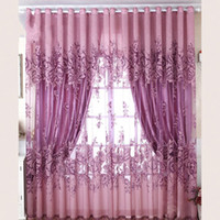 Wholesale Flower Tabs - Pastoral Style Shading Curtain High Grade Peony Flowers Window Curtains For Home Living Room Bedroom Decor 42 mr C